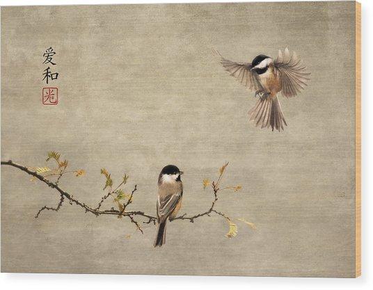 Chickadee Encounter II Wood Print