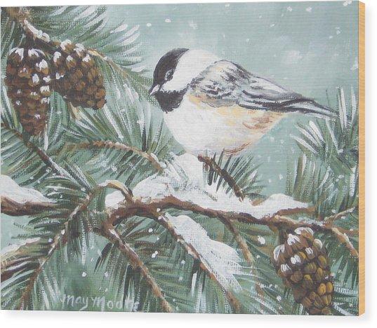Chickadee Wood Print by May Moore
