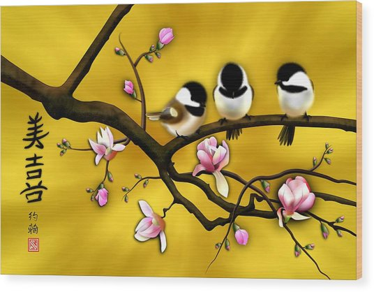 Chickadee On Blooming Magnolia Branch Wood Print