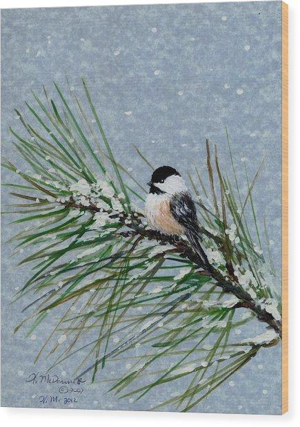 Chickadee Set 8 - Bird 2 - Snow Chickadees Wood Print