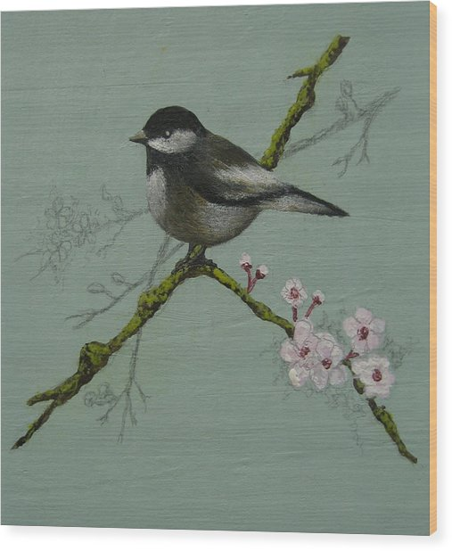 Chickadee Wood Print by Victoria Heryet