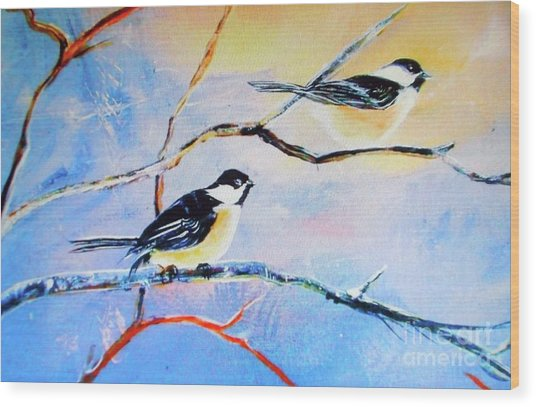 Black-capped Chickadees Limited Edition Prints 2-20 Set Decor In Wanderlust  Wood Print