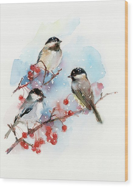 Chickadees With Berries Wood Print
