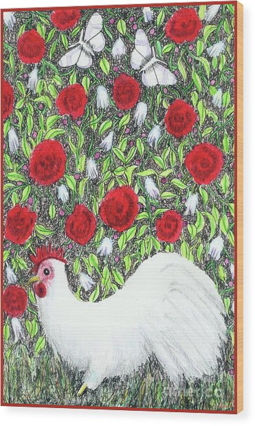 Chicken And Butterflies In The Flowers Wood Print