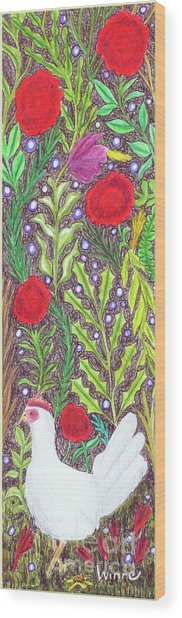 Chicken With An Attitude In Vegetation Wood Print
