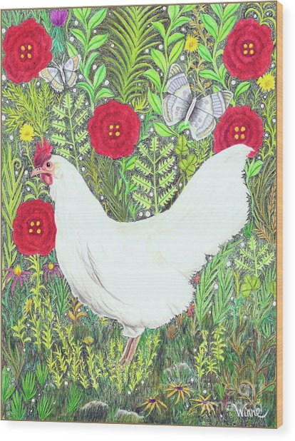 Chicken With Millefleurs And Butterflies  Wood Print