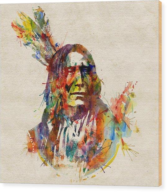 Chief Mojo Watercolor Wood Print