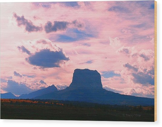 Chief Mountain, Pastel Wood Print