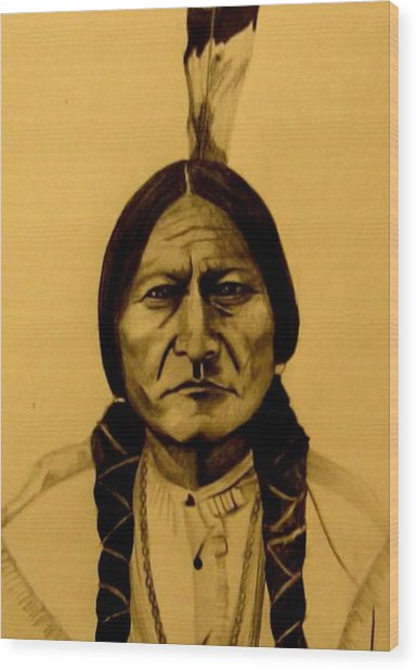 Wood Print featuring the drawing Chief Sitting Bull  Tatanka Iyotake by Michelle Dallocchio