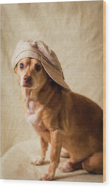 Chihuahua In A Newsboy Hat Wood Print