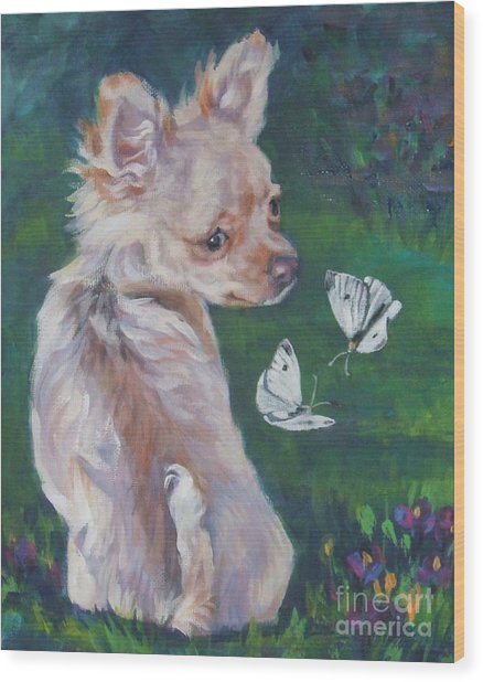 Chihuahua With Butterflies Wood Print