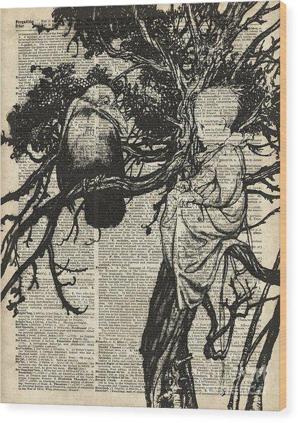 Child And Raven Wood Print