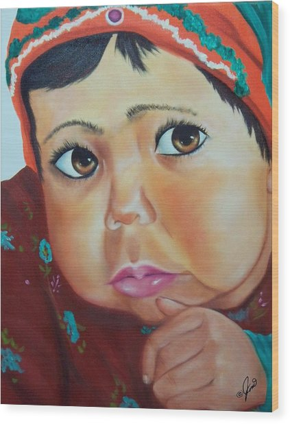 Child Of Afghanistan Wood Print by Joni McPherson