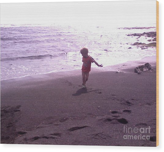Child Running Black Sands Wood Print by Sacred  Muse