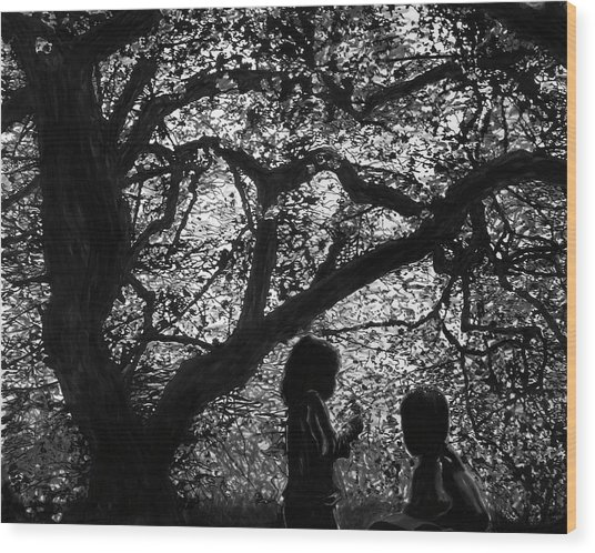 Child Silhouettes Wood Print