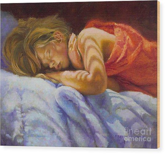 Child Sleeping Print Wall Art Room Decor Wood Print by Patti Trostle