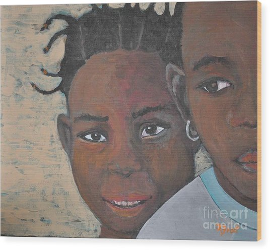 Children Burkina Faso Series Wood Print by Reb Frost
