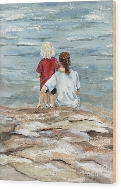 Children By The Sea  Wood Print