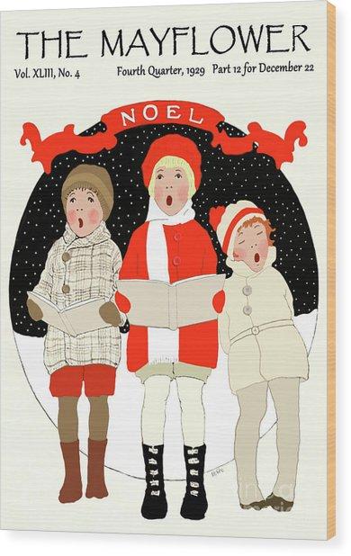 Children Caroling At Christmas Wood Print