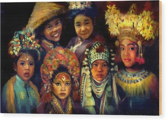 Children Of Asia Wood Print