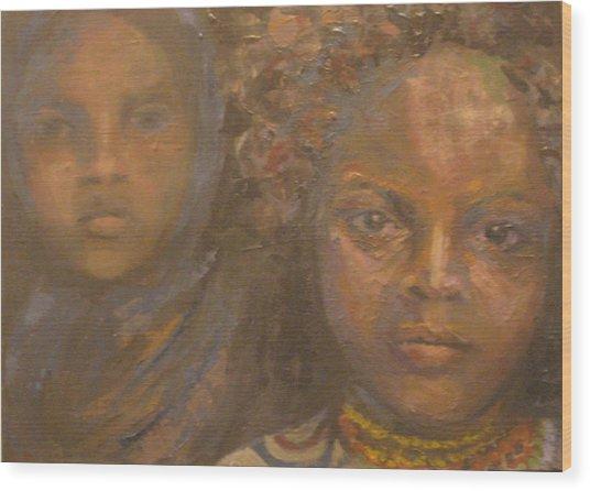 Children Of Sorrow Wood Print by Connie Freid