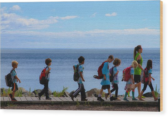 Children On Lake Walk Wood Print