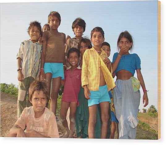 Childrens...enjoying Wood Print by Sandeep Khanwalkar