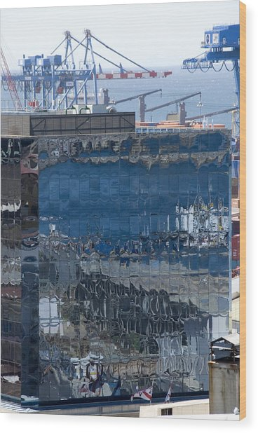 Chile Harbor Reflections Wood Print by Charles  Ridgway