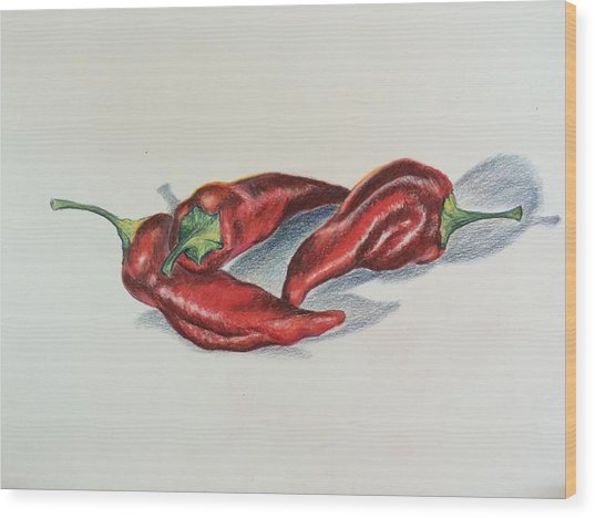 Chile Peppers Wood Print