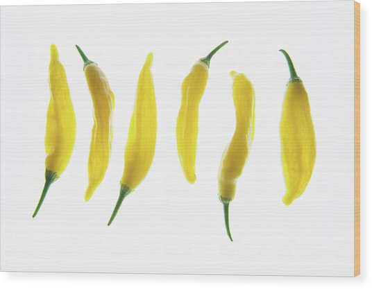 Chillies Lined Up II Wood Print