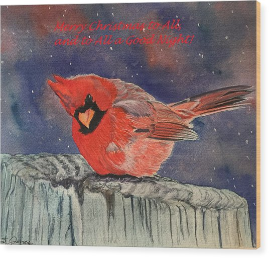 Chilly Bird Christmas Card Wood Print