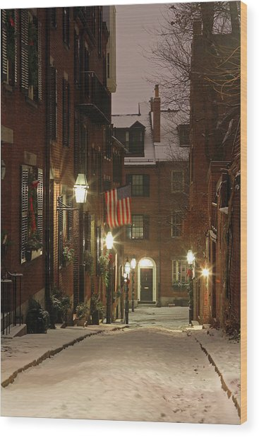 Chilly Boston Wood Print
