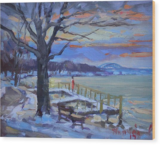 Chilly Sunset In Niagara River Wood Print