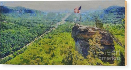Chimney Rock Nc Wood Print