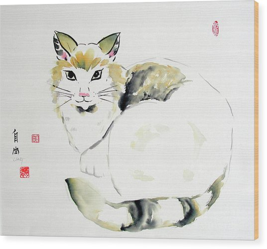 China Cat Wood Print