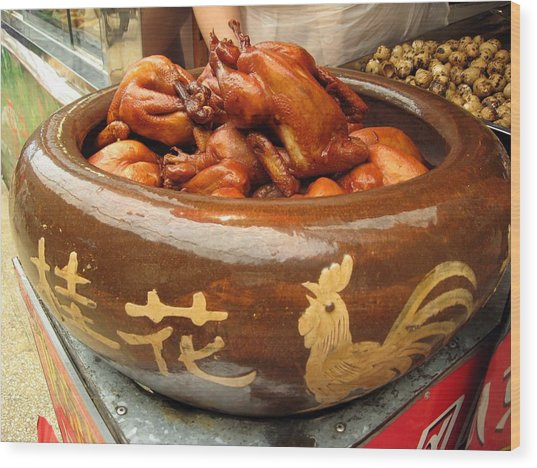 China Chicken In Market Wood Print