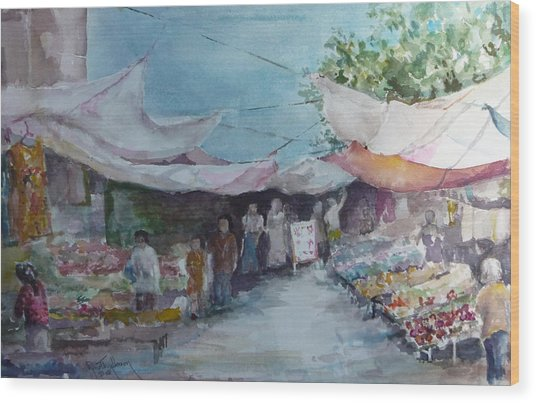 China Market Place Wood Print by Dorothy Herron
