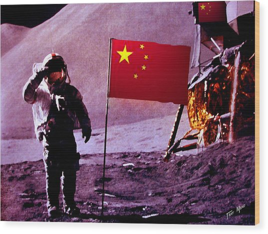 China On The Moon Wood Print by Tray Mead