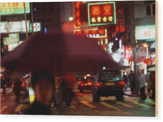 China Street Scene Hong Kong Wood Print by Brad Rickerby