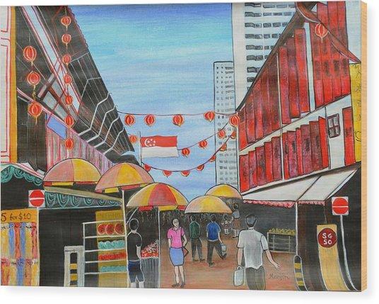 China Town Singaporesg50 Wood Print