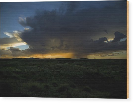 Chinati Storm Wood Print by Clyde Replogle