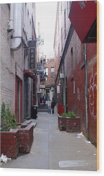 Chinatown Alley Wood Print by Sonja Anderson