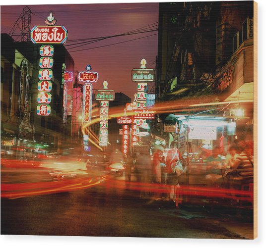 Chinatown In Bangkok Wood Print by Brad Rickerby