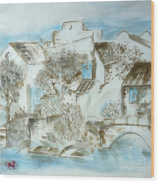 Chinese Water Town Wood Print