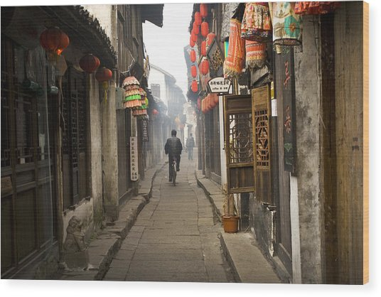 Chinese Alley Wood Print