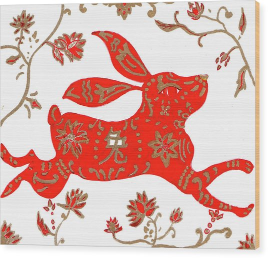 Chinese Astrology Rabbit Wood Print
