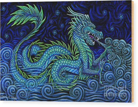 Chinese Azure Dragon Wood Print