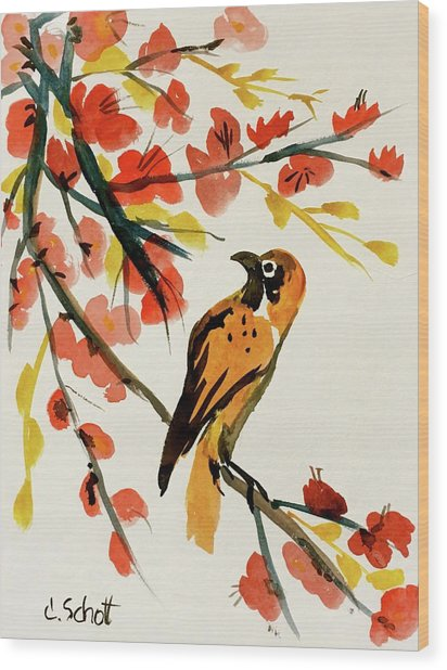 Chinese Bird With Blossoms Wood Print