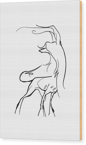 Chinese Crested Gesture Sketch Wood Print