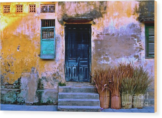 Chinese Facade Of Hoi An In Vietnam Wood Print